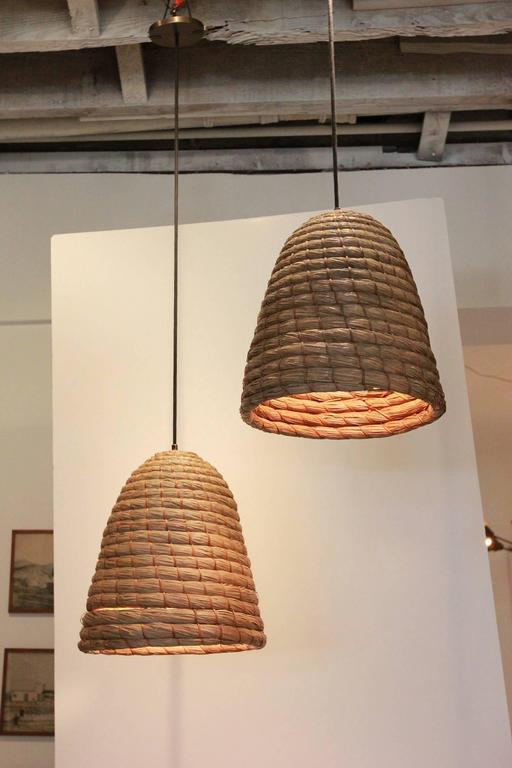 Rustic Japanese Raffia Beehive Pendant In Distressed Condition For Sale In Los Angeles, CA