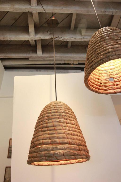Rustic Japanese Raffia Beehive Pendant For Sale 1