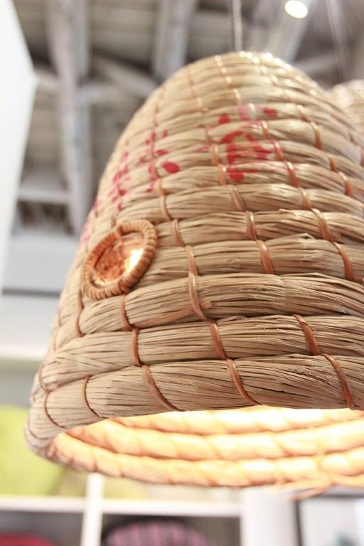 20th Century Rustic Japanese Raffia Beehive Pendant For Sale