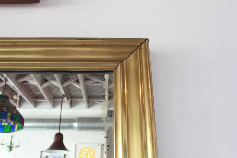 Long Brass Rectangular Mirror In Distressed Condition For Sale In Los Angeles, CA