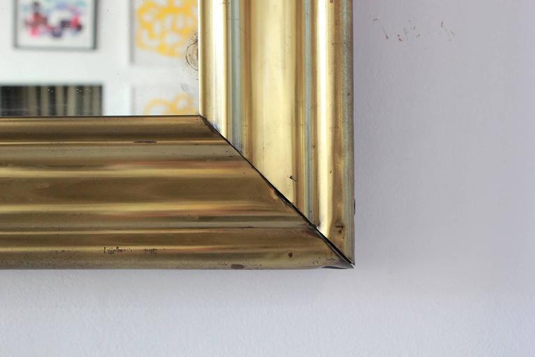 Mid-20th Century Long Brass Rectangular Mirror For Sale