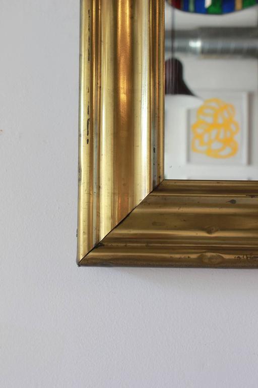 Long Brass Rectangular Mirror For Sale 1