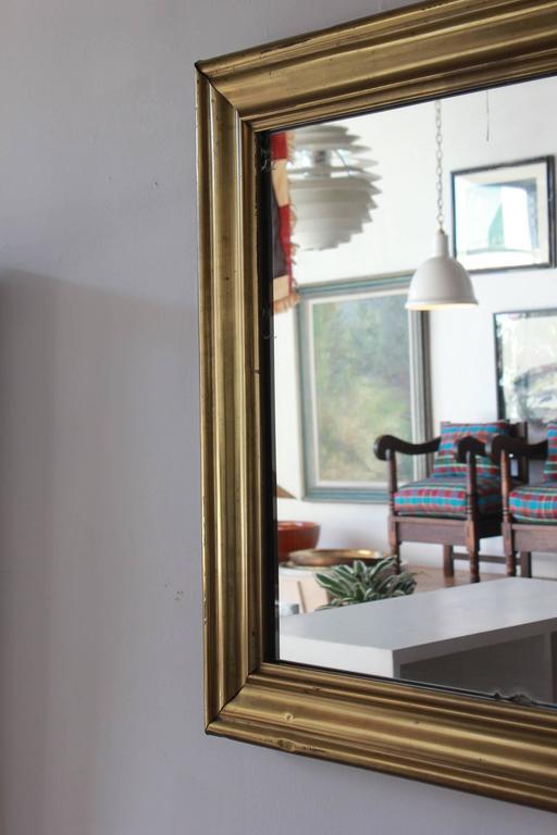 Long Brass Rectangular Mirror For Sale 2
