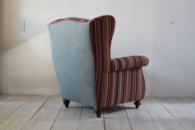 Italian Kilim Wing Back Chair with Original Leather Seat In Excellent Condition For Sale In Los Angeles, CA