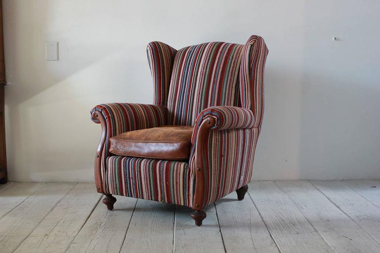Mid-20th Century Italian Kilim Wing Back Chair with Original Leather Seat For Sale
