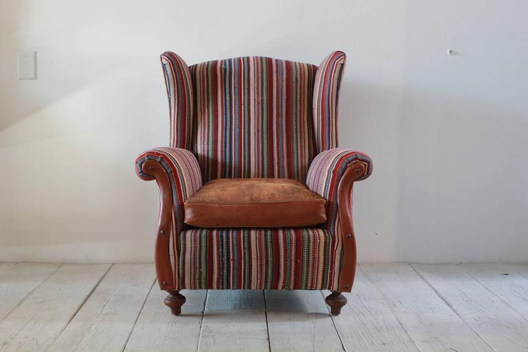 Italian Kilim Wing Back Chair with Original Leather Seat For Sale 1