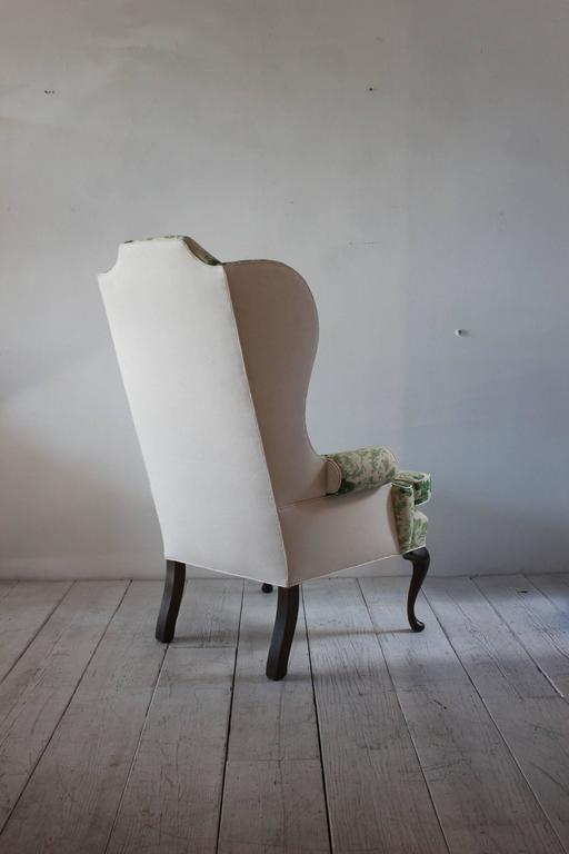 Vintage Wing Chair Upholstered in Green Floral Fabric 4