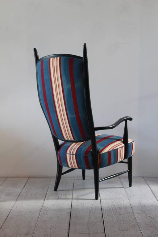 Black Painted Spanish High Back Chair Upholstered in African Fabric For Sale 1
