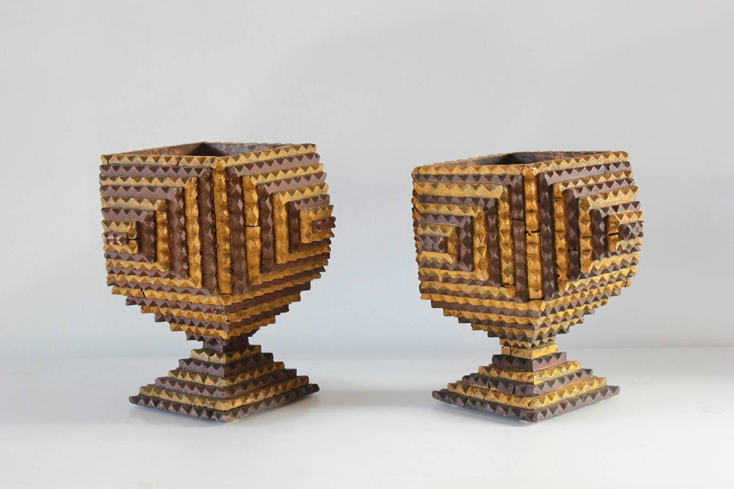 Pair Of Unique Tramp Art Planters For Sale At 1stdibs