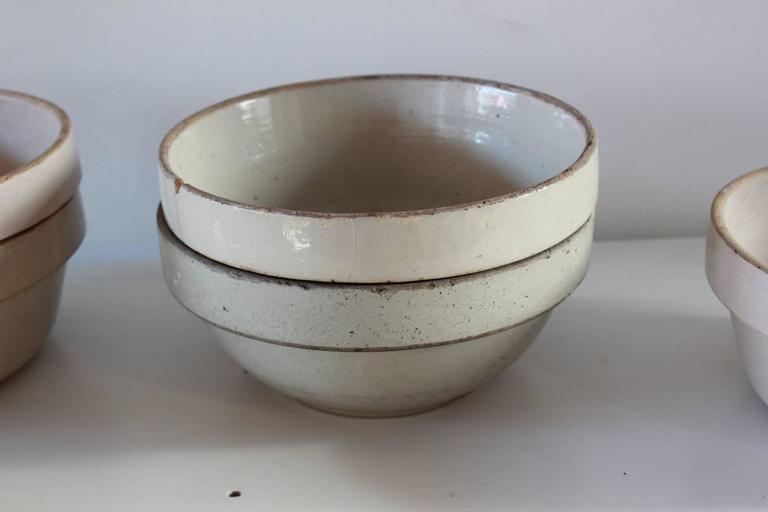 Rustic Low Round German Salt Glazed Ceramic Crock For Sale