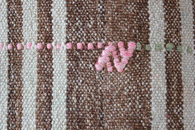 Turkish Brown and Natural Striped Rug with Pink and Orange Details In Distressed Condition For Sale In Los Angeles, CA