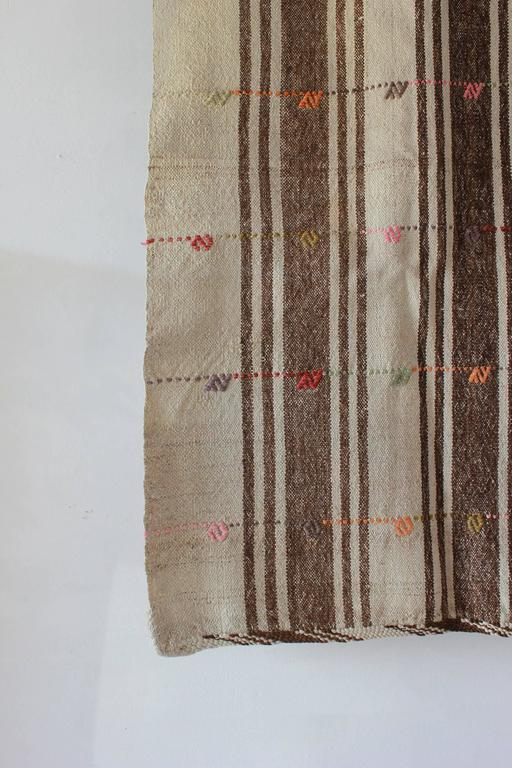 Turkish Brown and Natural Striped Rug with Pink and Orange Details 4