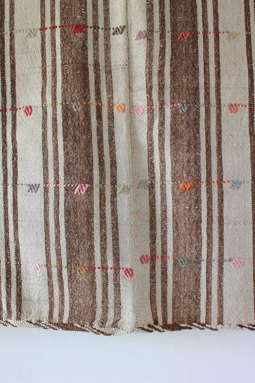 Turkish Brown and Natural Striped Rug with Pink and Orange Details For Sale 1