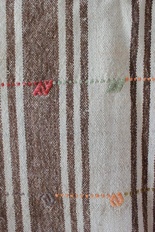 Turkish Brown and Natural Striped Rug with Pink and Orange Details 6