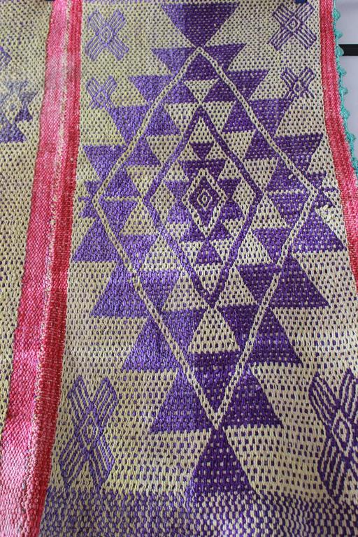 Peruvian Handwoven Textile with Violet Geometric Details In Distressed Condition For Sale In Los Angeles, CA