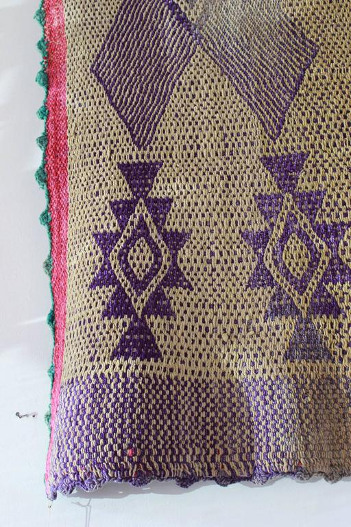 Mid-20th Century Peruvian Handwoven Textile with Violet Geometric Details For Sale
