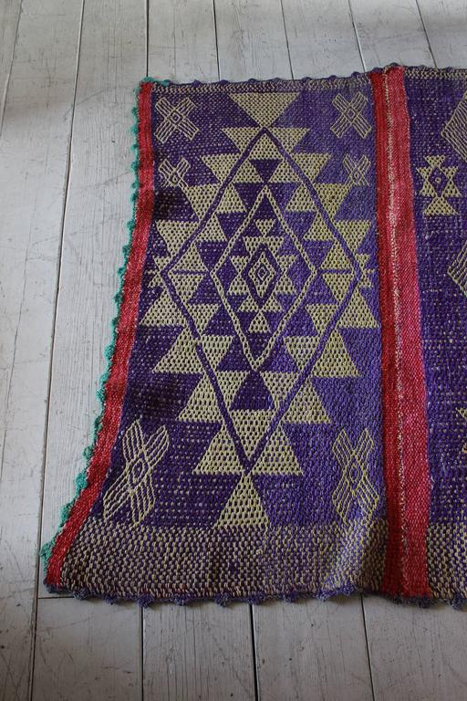 Peruvian Handwoven Textile with Violet Geometric Details For Sale 1