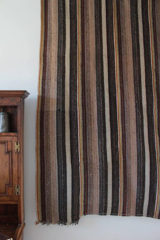 Rustic Flat-Woven Wool Striped Rug 4