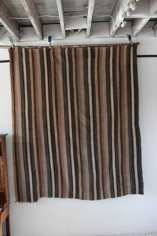 Rustic Flat-Woven Wool Striped Rug 5