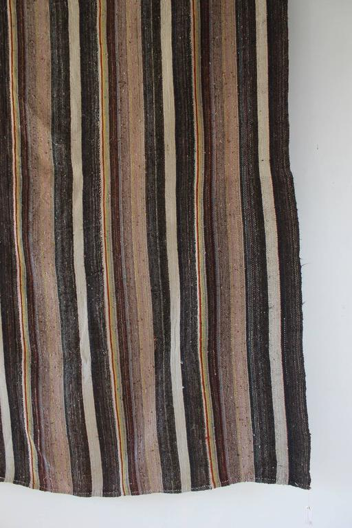 Rustic Flat-Woven Wool Striped Rug 6