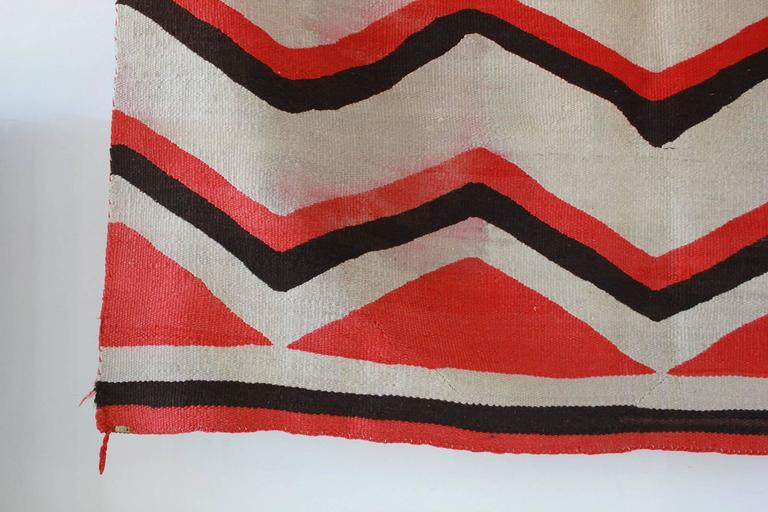 Wool Chevron Pattern Red and Brown Vintage Textile 2