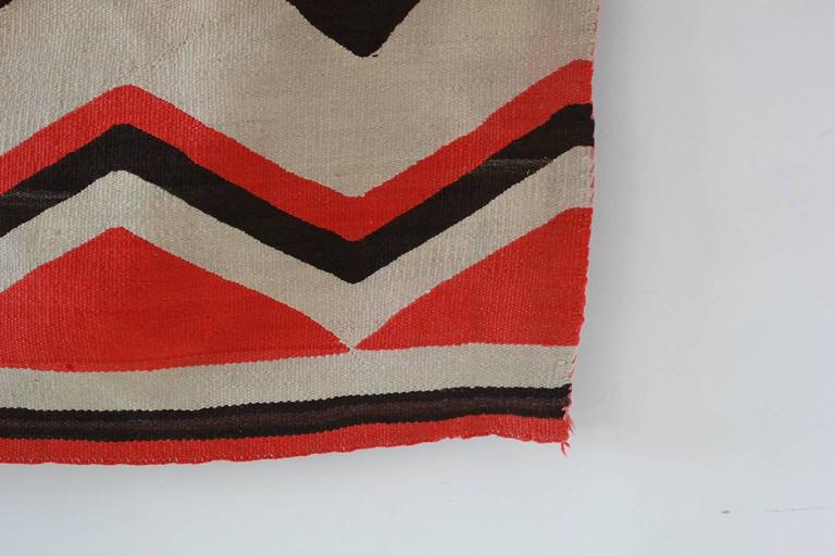 Wool Chevron Pattern Red and Brown Vintage Textile 3