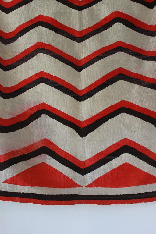 Wool Chevron Pattern Red and Brown Vintage Textile 4