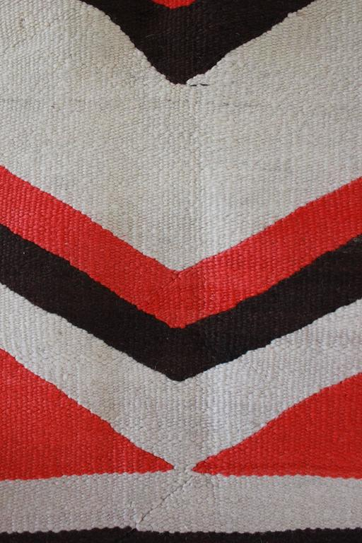 Wool Chevron Pattern Red and Brown Vintage Textile 5