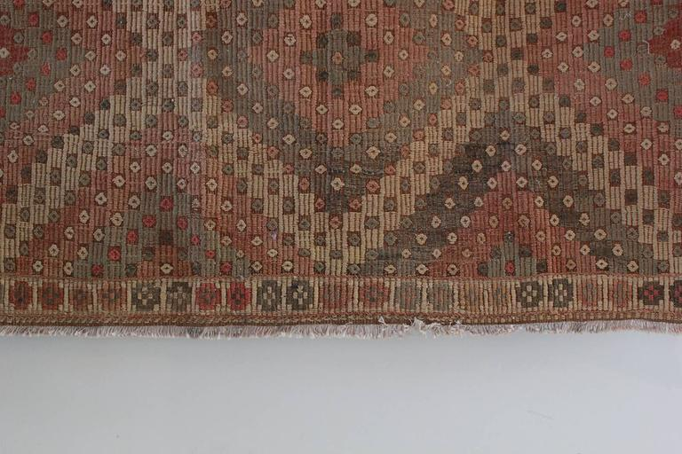 Turkish Jajim Diamond Rug with Sage and Orange Details 4