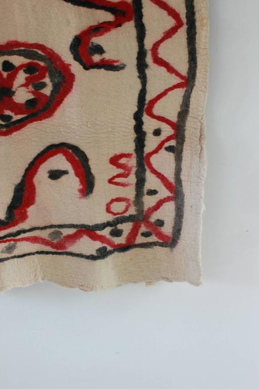 Cote Pierre French Felt Rug with Red and Black Abstract 4