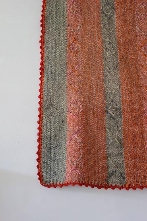 Peruvian Striped Orange Pink and Sage Colored Cuzco Wool Textile 3