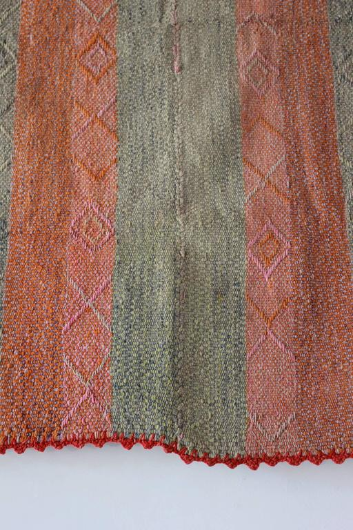 Peruvian Striped Orange Pink and Sage Colored Cuzco Wool Textile 4