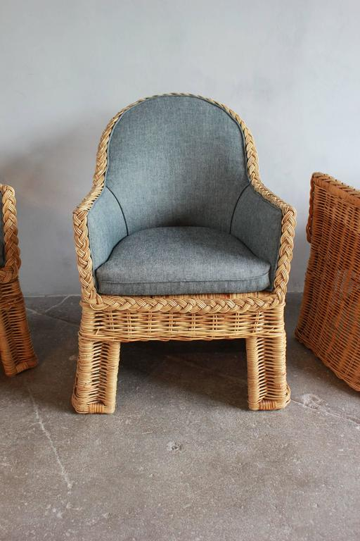 Set of Four Oversized Wicker Dining Chairs Upholstered in Reverse Denim In Distressed Condition For Sale In Los Angeles, CA
