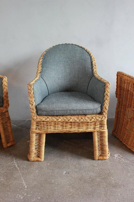 Late 20th Century Set of Four Oversized Wicker Dining Chairs Upholstered in Reverse Denim For Sale