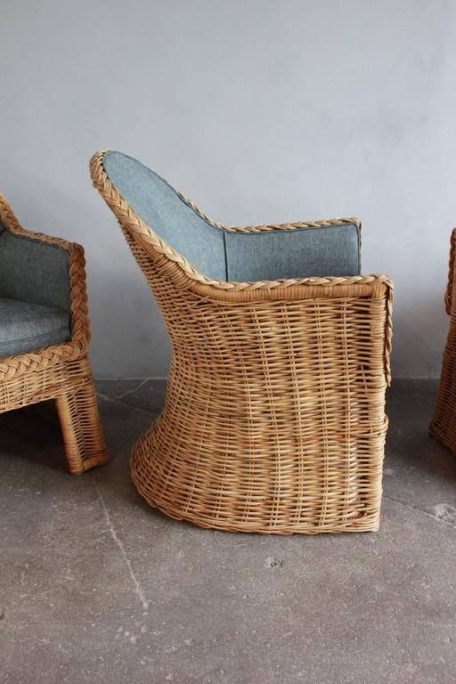 Set of Four Oversized Wicker Dining Chairs Upholstered in Reverse Denim For Sale 1
