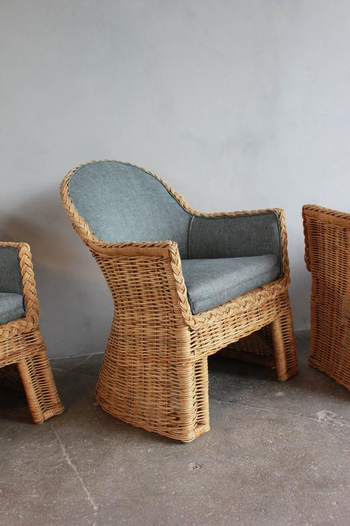 Set of Four Oversized Wicker Dining Chairs Upholstered in Reverse Denim For Sale 2