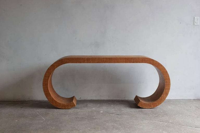 Karl Springer Style Curved Lacquered Grasscloth Console 2