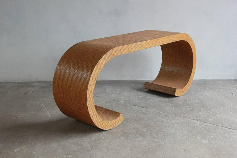 Karl Springer Style Curved Lacquered Grasscloth Console 5