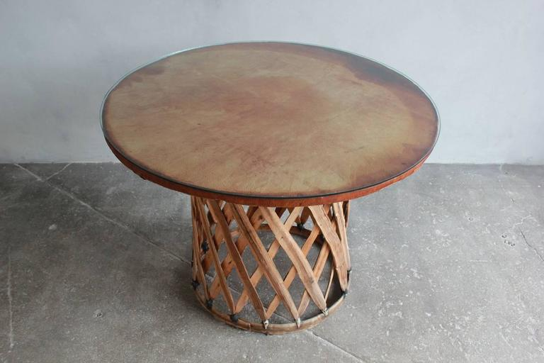Mexican Leather Wrapped Round Table with Four Equipale Chairs For Sale 1