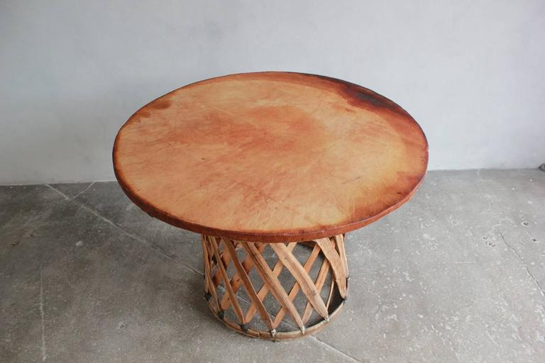 Mexican Leather Wrapped Round Table with Four Equipale Chairs For Sale 2