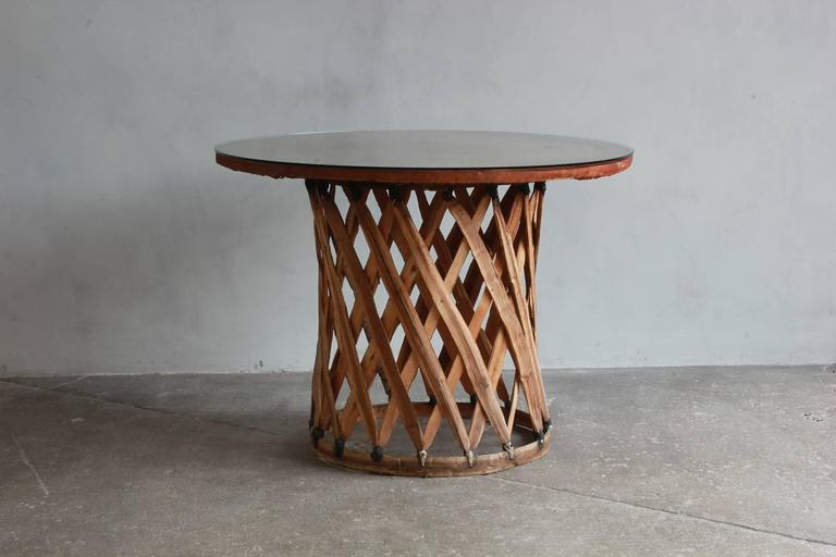 Mexican Leather Wrapped Round Table with Four Equipale Chairs In Distressed Condition For Sale In Los Angeles, CA