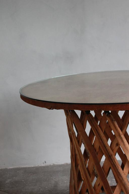 Late 20th Century Mexican Leather Wrapped Round Table with Four Equipale Chairs For Sale