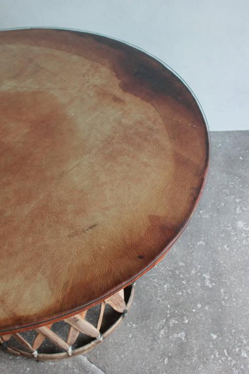 Mexican Leather Wrapped Round Table with Four Equipale Chairs For Sale 3