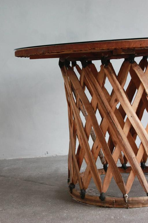 Mexican Leather Wrapped Round Table with Four Equipale Chairs For Sale 4