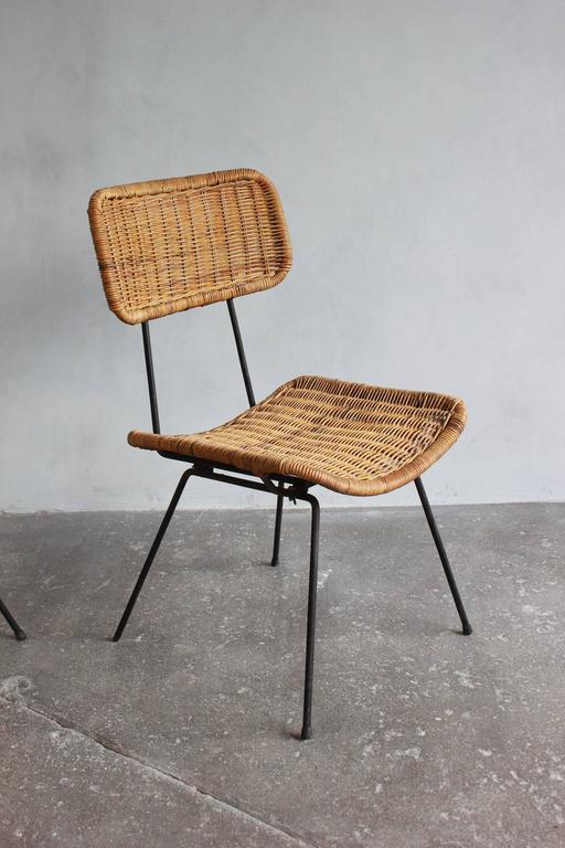 Rattan and Iron Side Chair 6