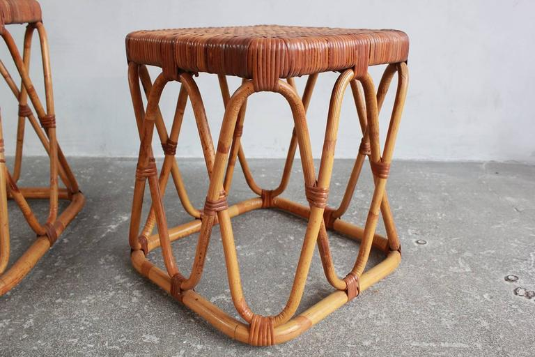 Pair of Square Wicker Nesting Tables For Sale 1
