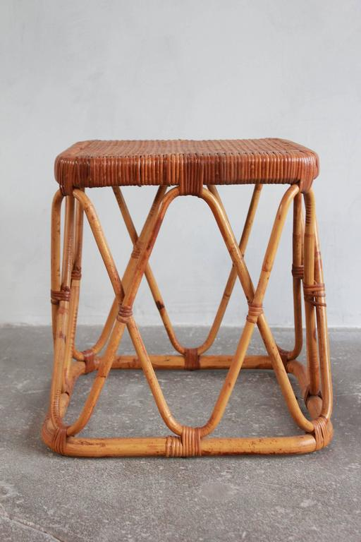 Pair of Square Wicker Nesting Tables For Sale 2