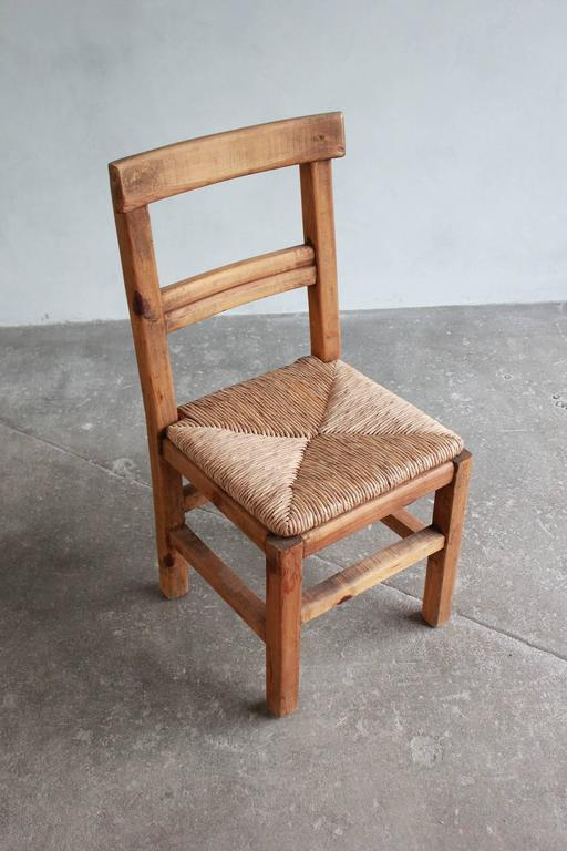 Set of Four French Dining Chairs with Rush Seat For Sale 3