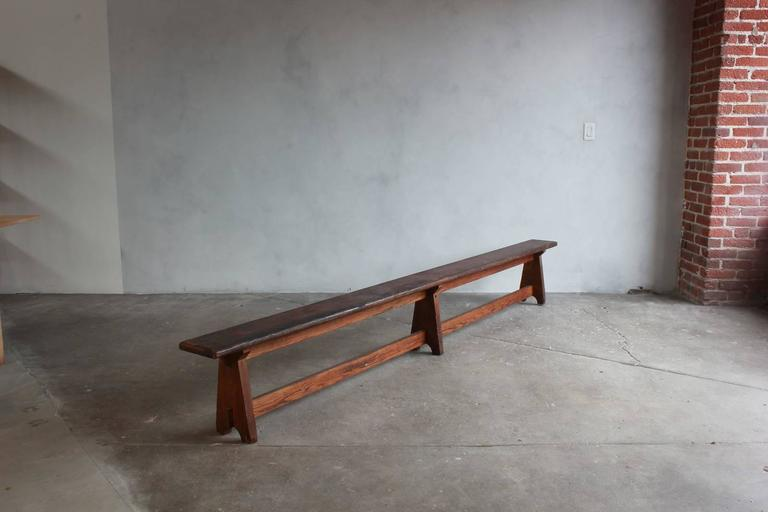 Long Rustic Bench with Middle Leg 4