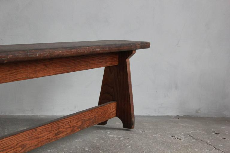 Long Rustic Bench with Middle Leg For Sale 2